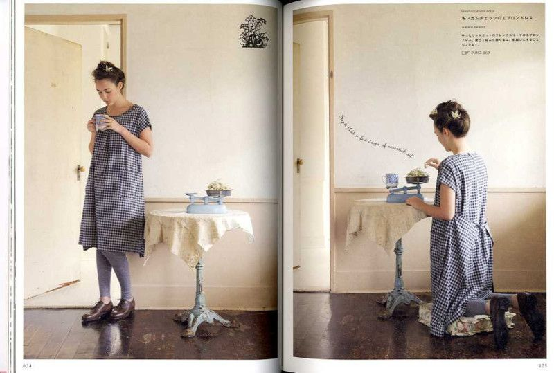 168865e1586 apron dress from Japanese pattern book  Pretty and mature natural wardrobe