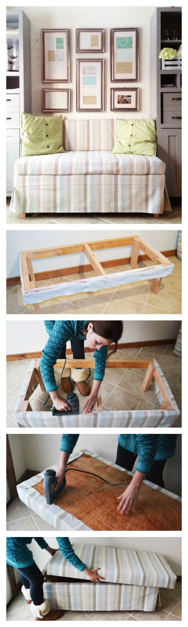 DIY Upholstered Banquette Seat: Free Step By Step Plans To Build This  Upholstered Banquette Seat.