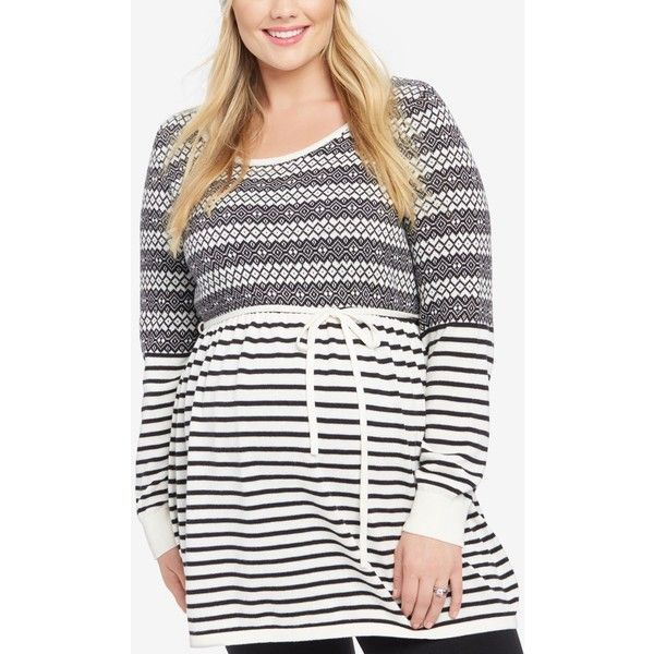 b2497607c9a3d Motherhood Maternity Plus Size Babydoll Sweater ( 45) ❤ liked on Polyvore  featuring plus size women s fashion