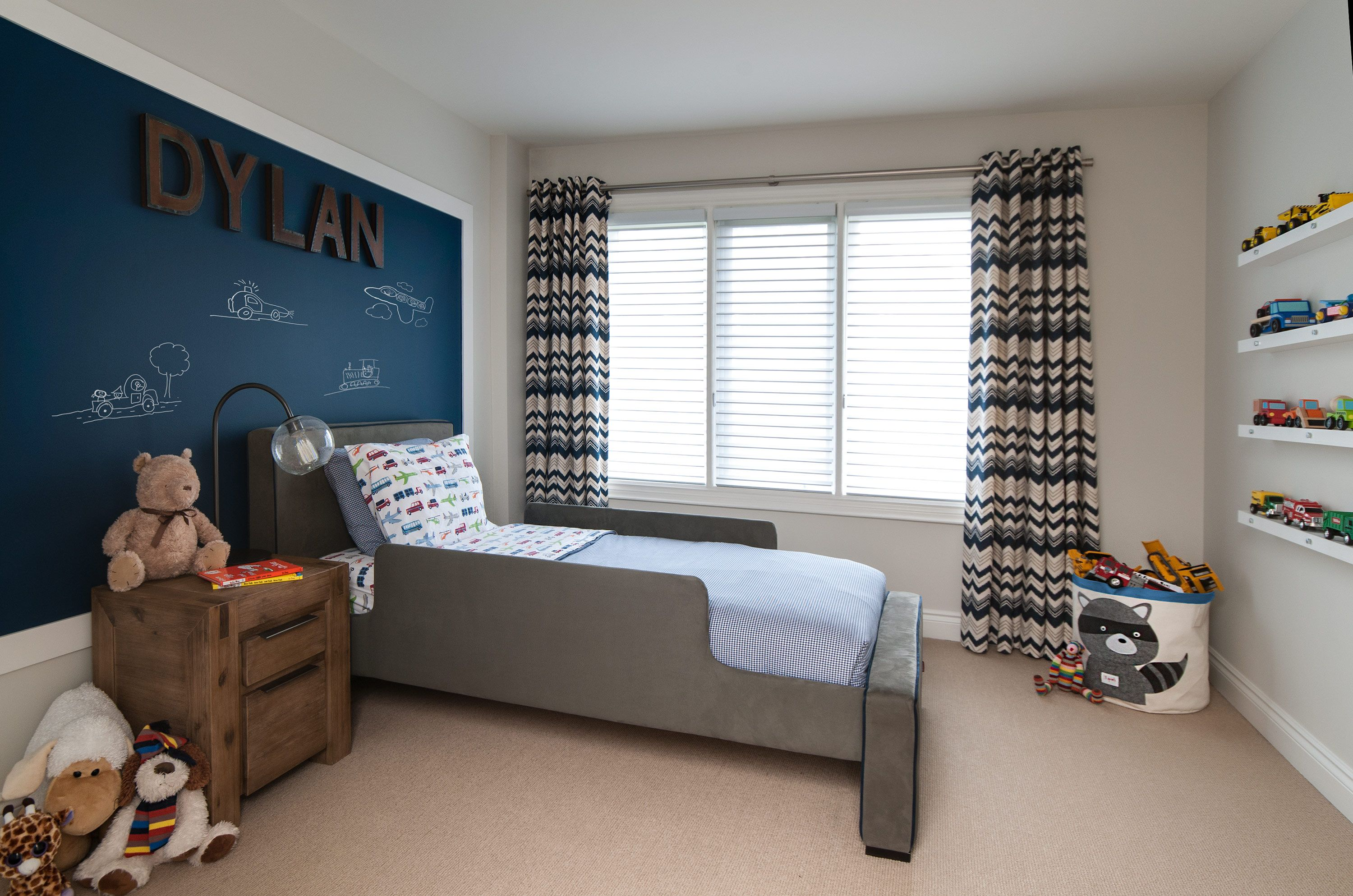 Dylan S Room Designed By Jodi Rosen Featuring The Monte Design Dorma Twin Bed In Charcoal With Navy Blue Pipin Home Theater Decor Home Decor Home Decor Store