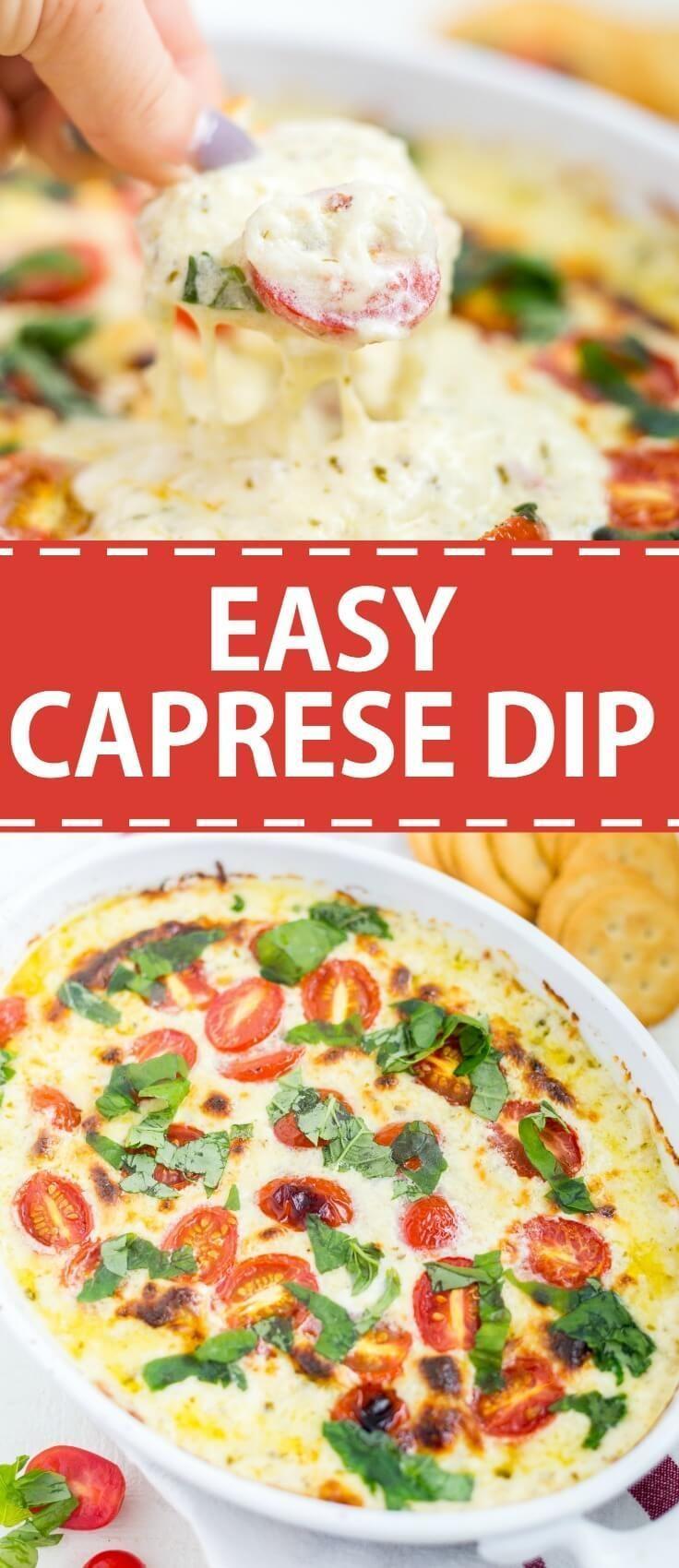 Easy Caprese Dip #tailgatefoodmakeahead