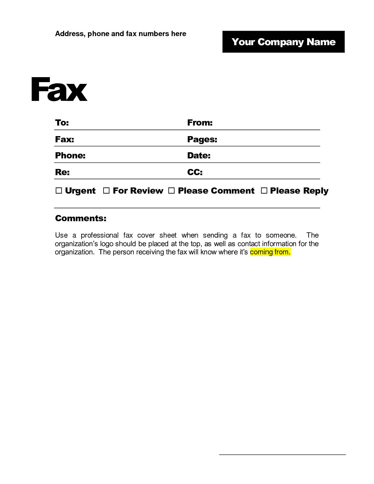 free fax cover sheet template format example pdf printable
