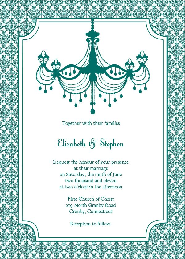 Free teal chandelier and damask vintage wedding invitation ...
