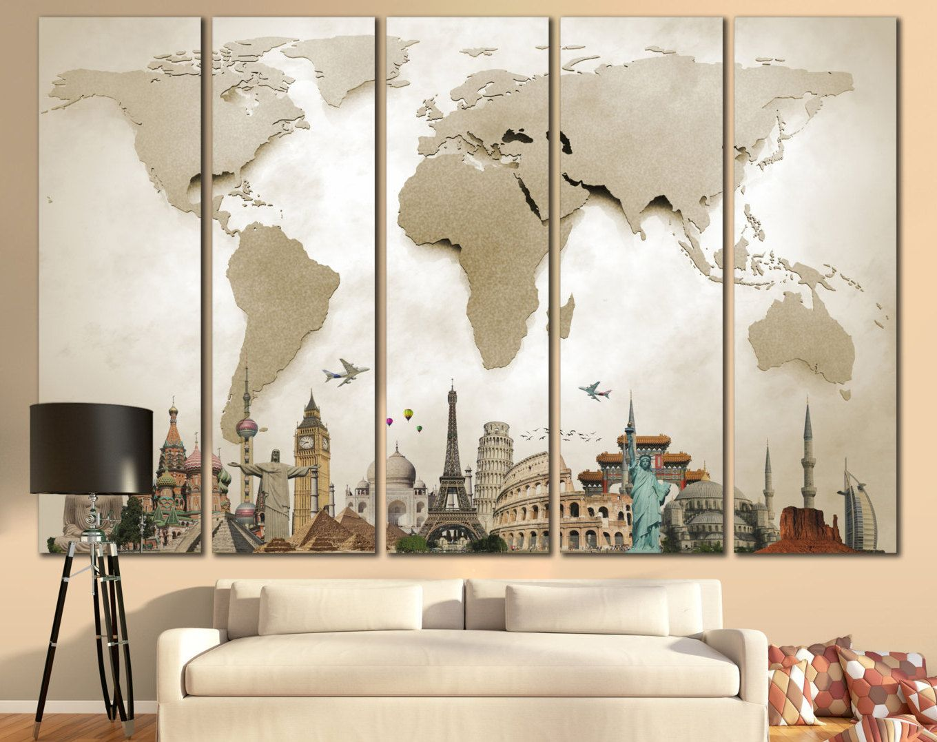 Attractive Large Wall Paintings For Living Room Part - 6: LARGE World Map Canvas Print Wall Art / 13 Or 5 Panel By ZellartCo