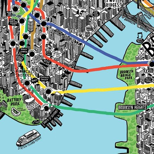 A Gloriously Detailed Hand Drawn Map Of Nyc Map Of New York Nyc Map How To Draw Hands