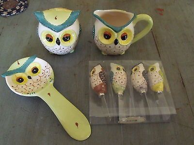 Owl home decorsugar creamerspoon rest spreaders kitchen dishes