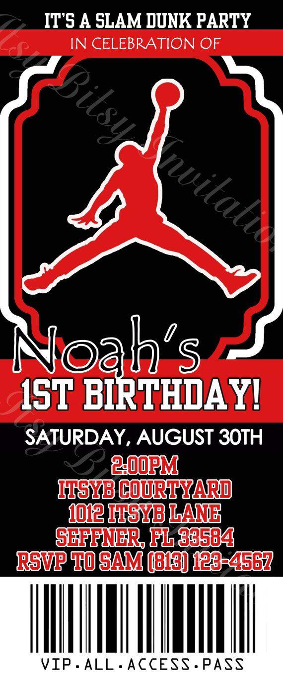 Basketball Air Man Ticket Invitation / MVP Invitation / Jordan ...