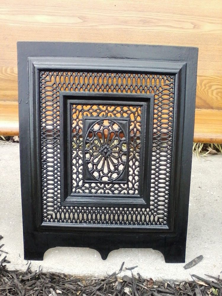 Antique Cast Iron Victorian Fireplace Summer Grate Cover