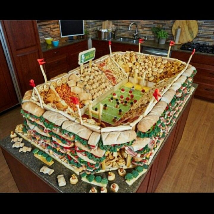 Super Bowl Party Spread Looks Like A Stadium