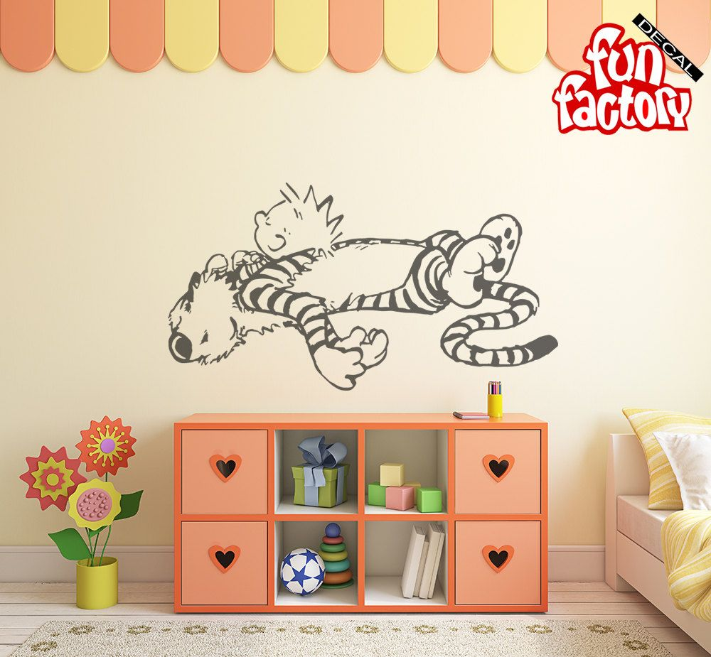 Calvin u0026 Hobbes Sleeping Wall Decal Kids Boy Girl Nursery Room Sticker Design Wall Mural Wall Decor Calvin and Hobbes 0034k by FunDecalFactory on Etsy  sc 1 st  Pinterest & Calvin u0026 Hobbes Sleeping Wall Decal Kids Boy Girl Nursery Room ...