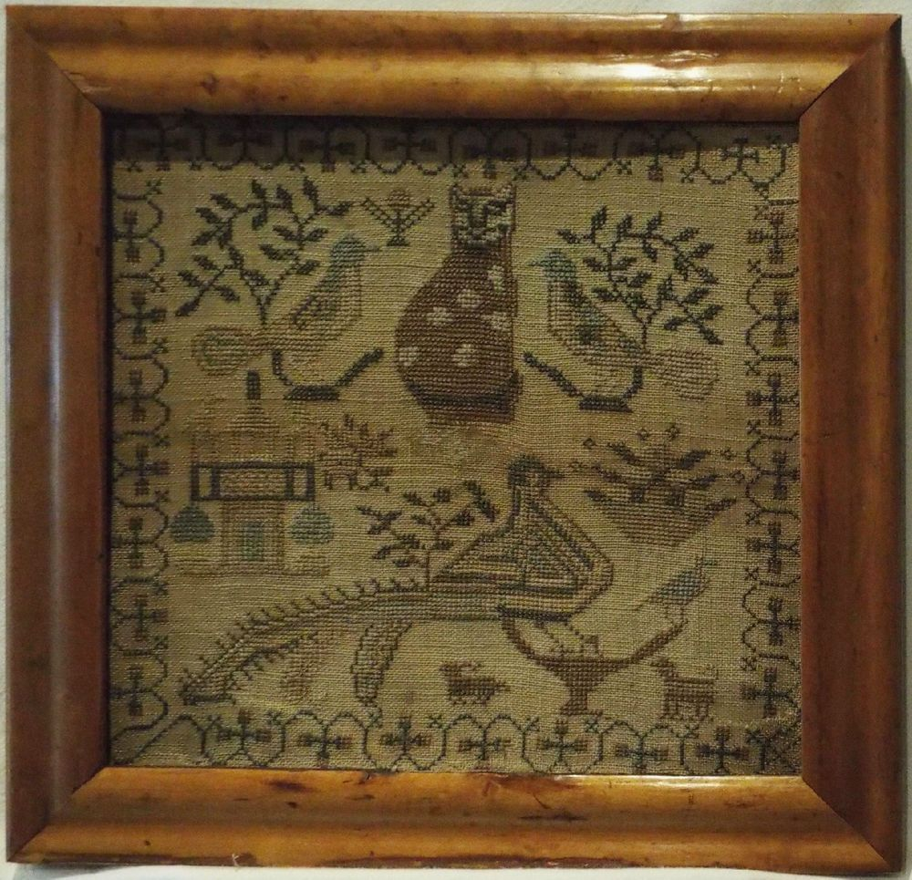 SMALL EARLY 19TH CENTURY CAT, BIRD & MOTIF SAMPLER c.1830 (With ...