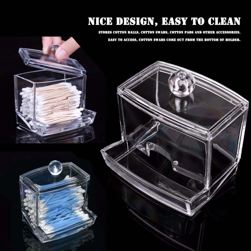 New Creative Clear Acrylic Q-Tip Storage Holder Box High Quality  Transparent Cotton Swabs Stick