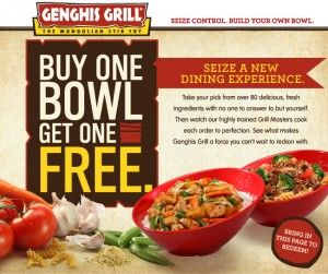 photograph relating to Genghis Grill Printable Coupon referred to as BOGO Cost-free Coupon at Genghis Grill Locations in direction of Check out Bogo