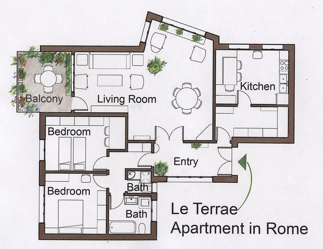 Le Terrae Apartment In Rome Rental Italian Family Owned Operated The Spacious Floor Plan Note That All The Rental Apartments Rome Apartment Floor Plans