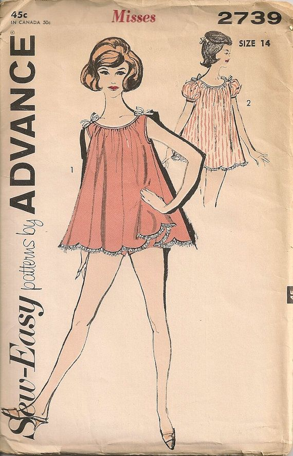 Vintage 1950\'s Pajamas Pattern Advance 2739