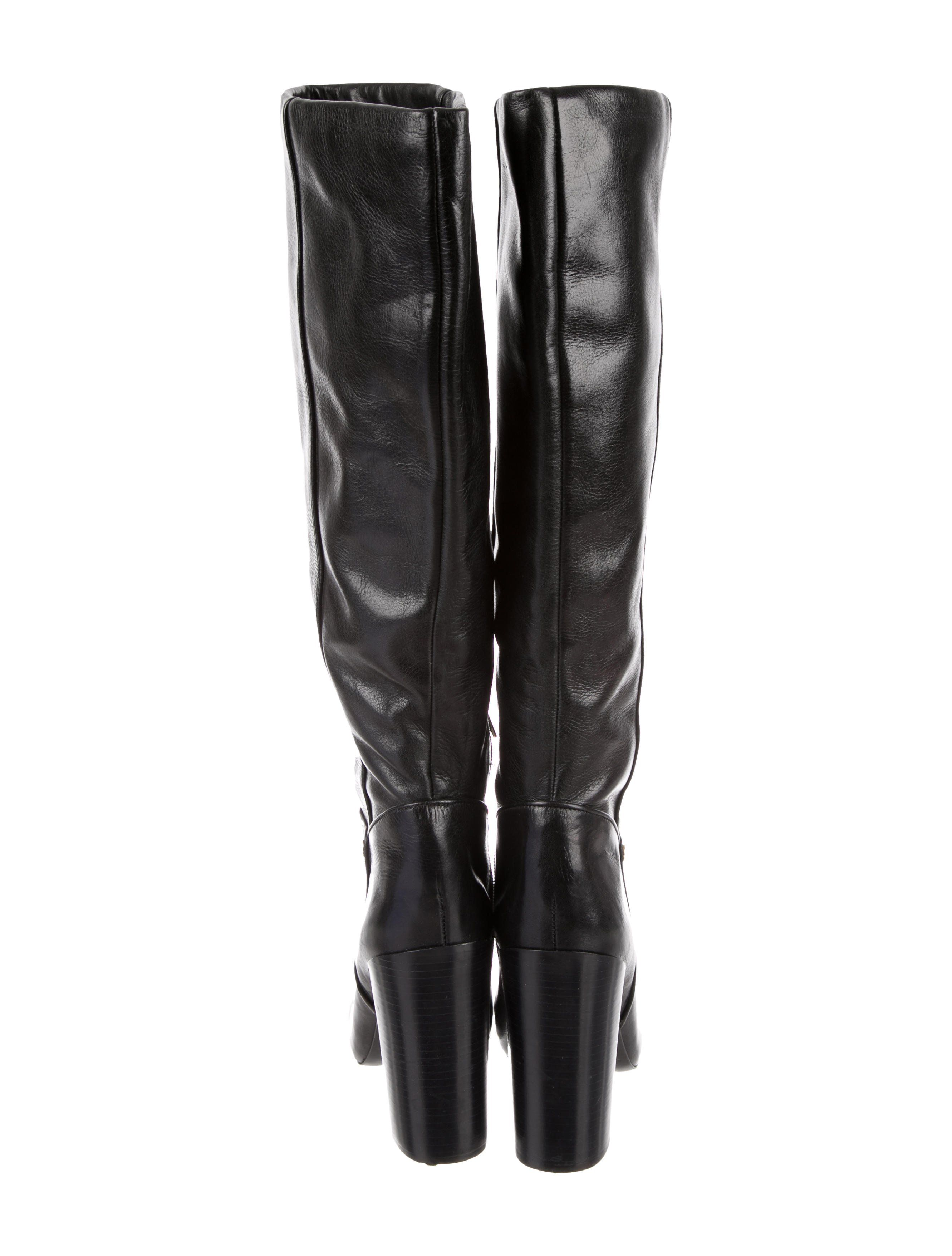 01b5c1bf2ce6a Black leather Tory Burch round-toe knee-high boots with tonal stitching