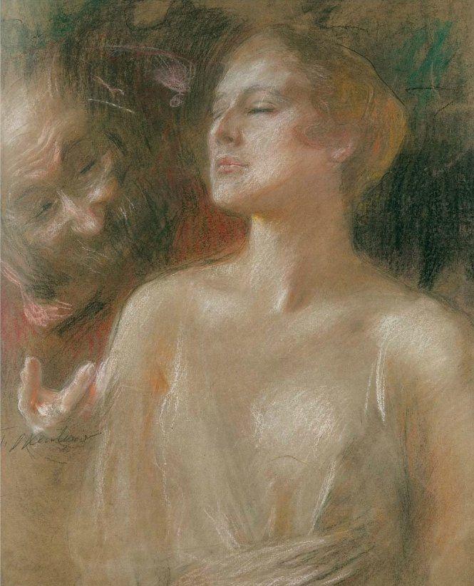 Susana y El Viejo, Teodor Axentowicz.  Polaco (1859 - 1938) - Pastel sobre cartón -