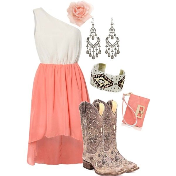 White and coral dress cowgirl boots coral or blackand white accessories