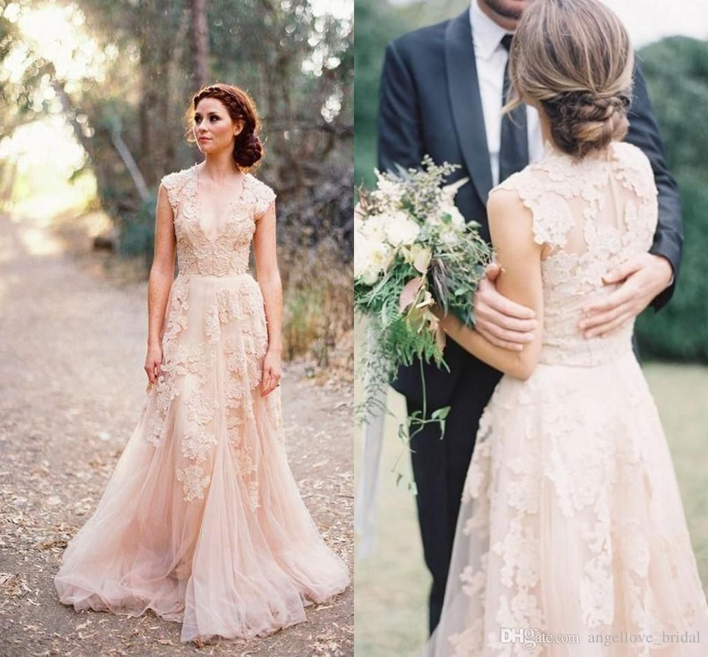 Blush Pink Lace Wedding Dress