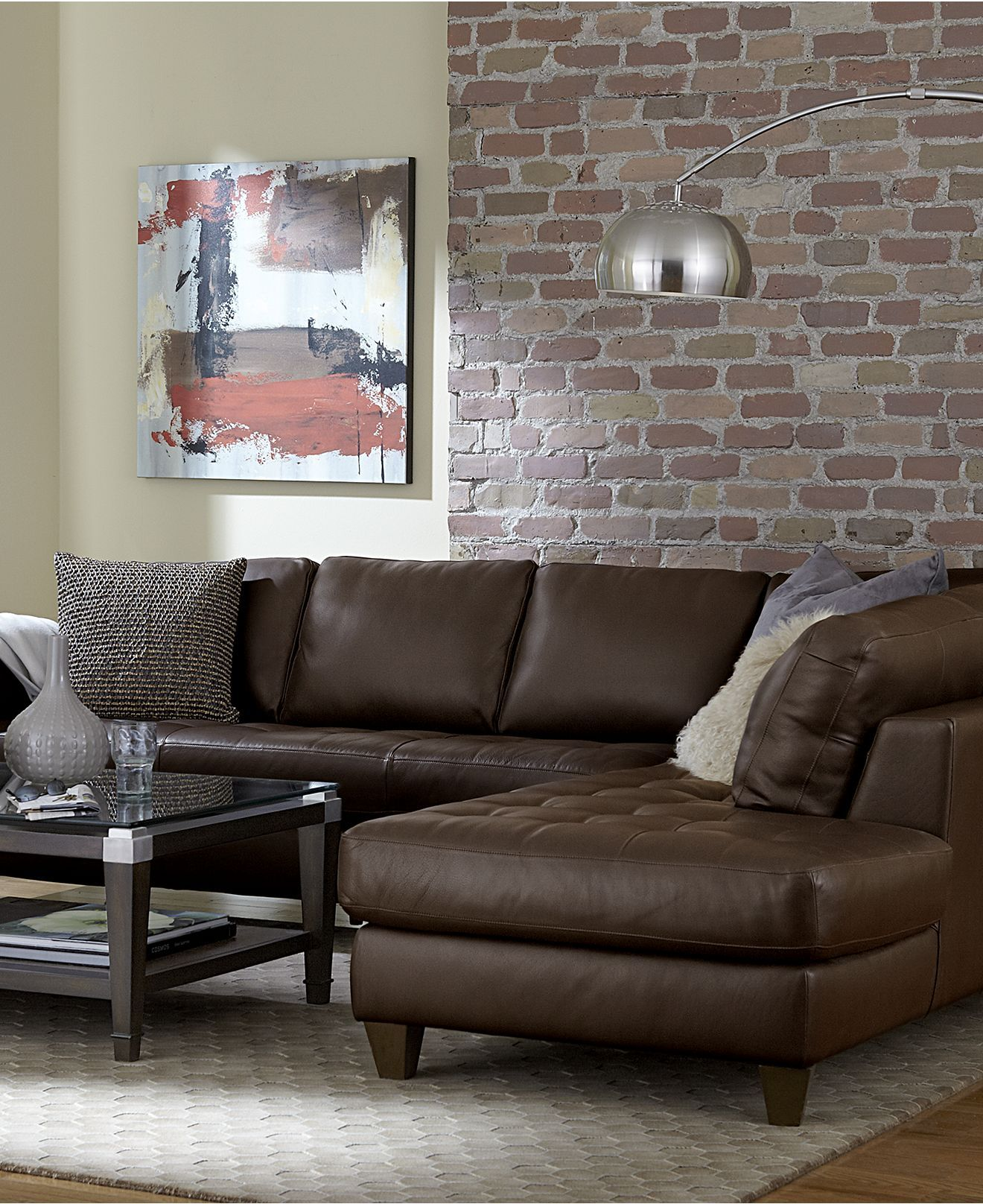Milano Leather Sectional from Macy's Home Decor