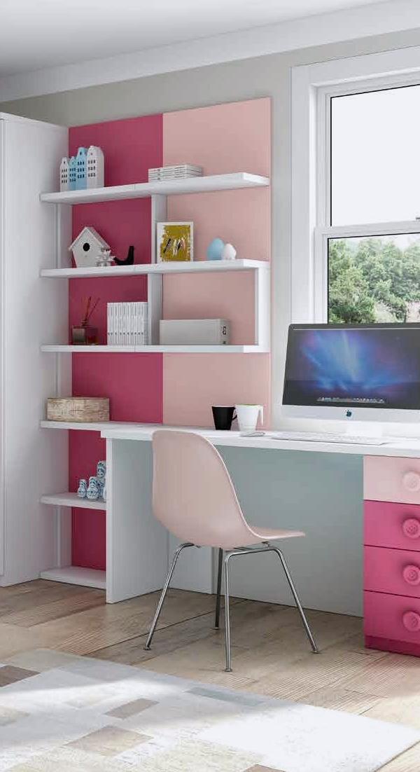 Mueble melamina blanco y rosado, muebles de melamina, dormitorio ...