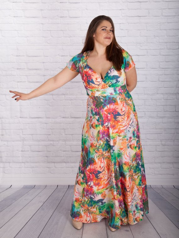 f764af736f0 Tropical Dress, Floral Dress, Plus Size Clothing, Maxi Dress, Oversized  Dress, Colorful Dress, Summe