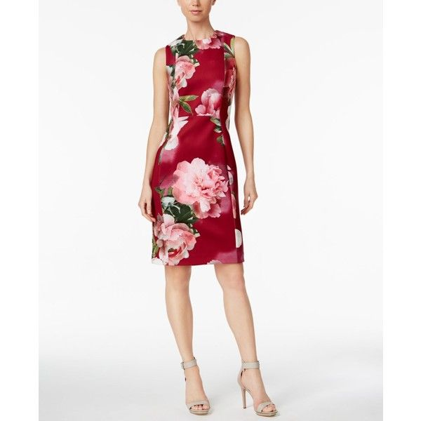 16274da19d30e Calvin Klein Printed Scuba Sheath Dress ( 134) ❤ liked on Polyvore  featuring dresses