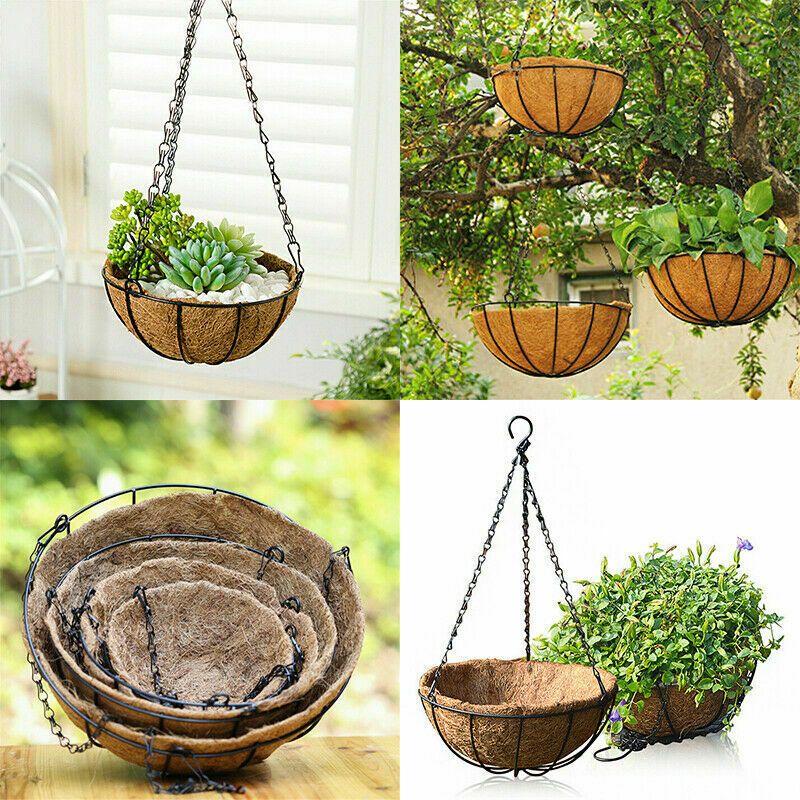 Diy Flowerpot Iron Coconut Palm Garden Hanging Planter Wall Basket Plant Holder Plant Holder Ideas Of Plant Holde Plant Holders Flower Pots Baskets On Wall