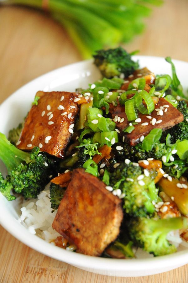 Tofu Teriyaki Bowl With Broccoli Peppers