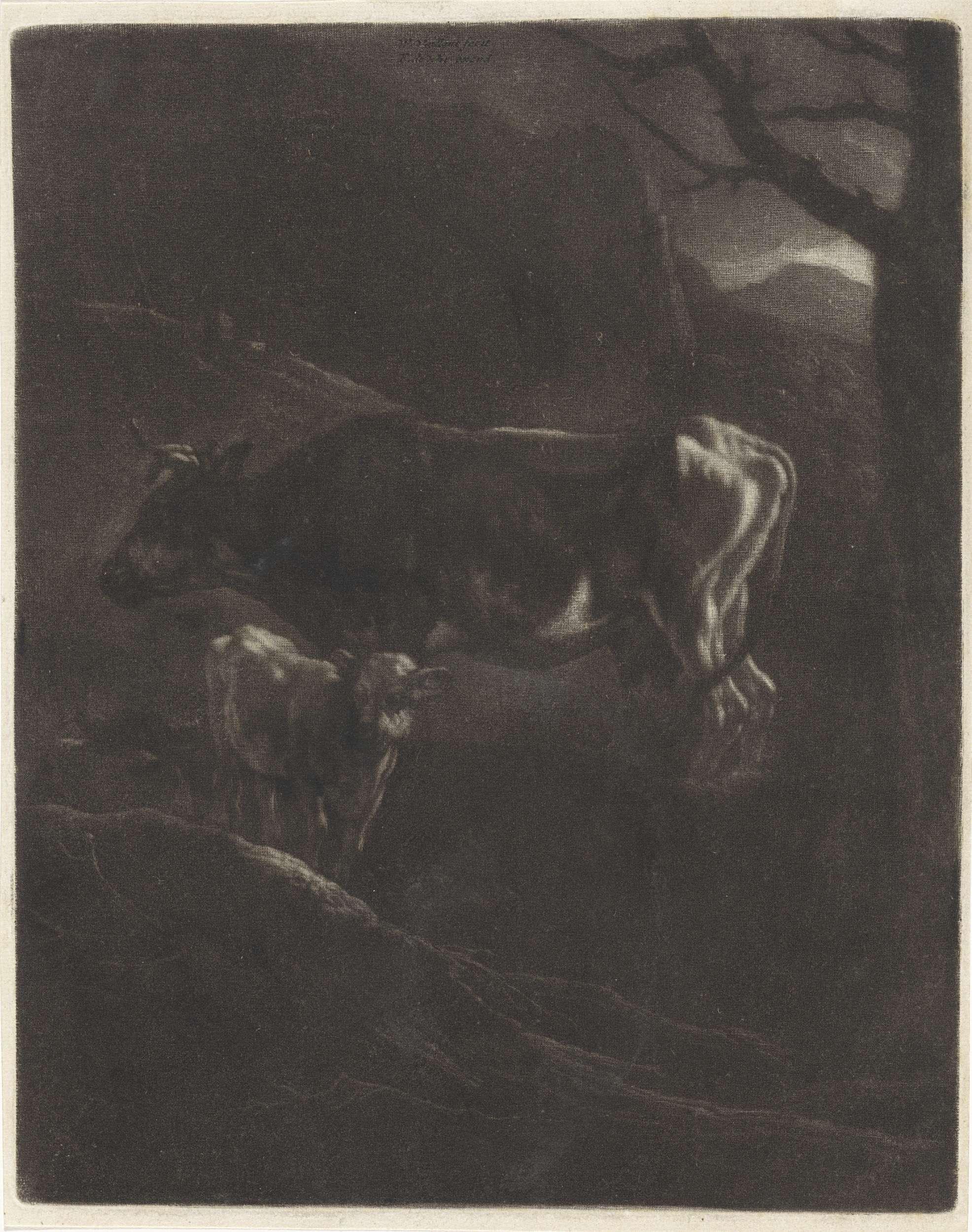 Wallerant Vaillant | Avondlandschap met een koe en een kalf, Wallerant Vaillant, Frederik de Wit, 1658 - 1706 |