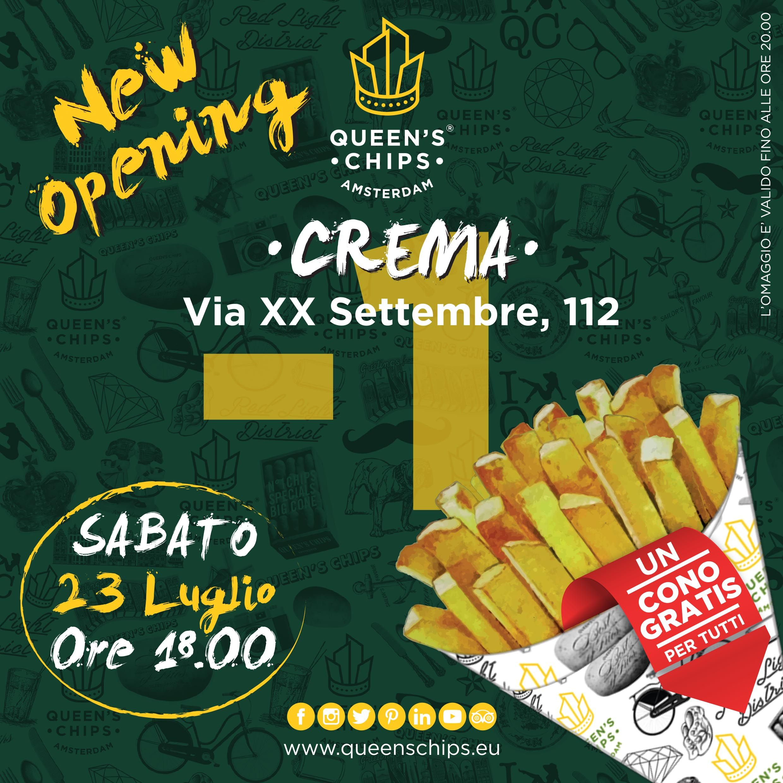 CREMA New Opening Queen's Chips Crema Via XX Settembre, 112 #queenschips #lepiubelledelreame #fries #chips #viaspettiamo #tomorrowiscoming