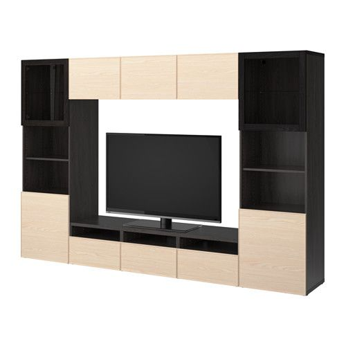 IKEA - BESTÅ TV storage combination/glass doors black-brown Sindvik - Wohnzimmer Ikea Besta