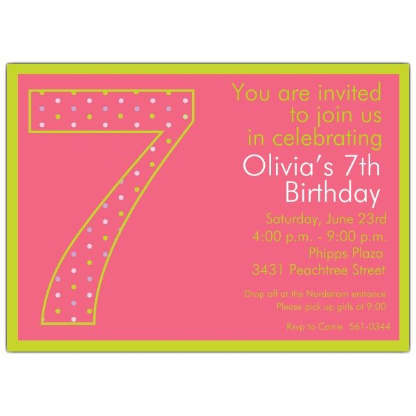 7th Birthday Girl Dots Invitations