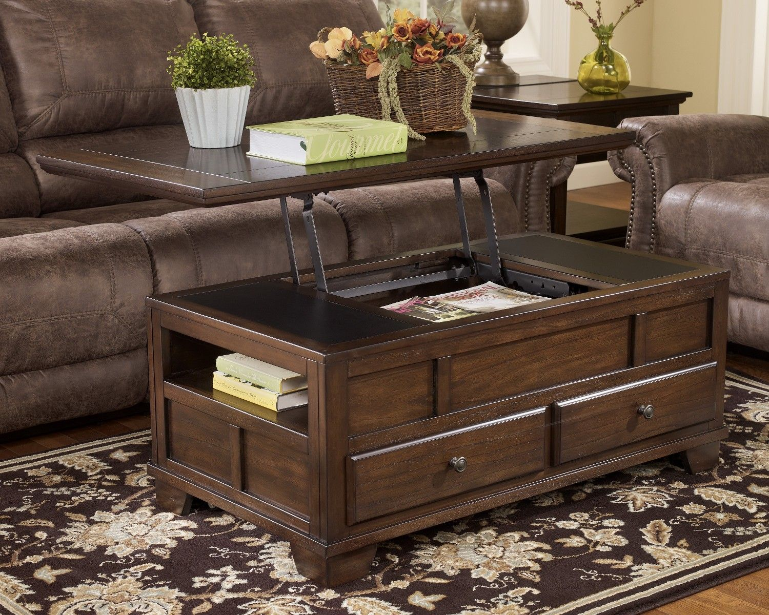 Dark Wood Coffee Table Chest With Sliding Top Dark Wood Coffee