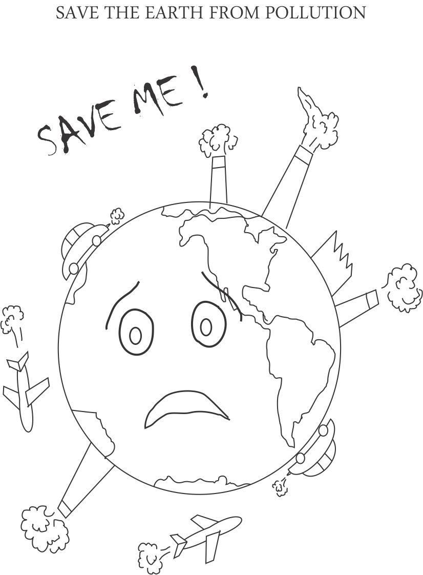 Control Pollution Printable Coloring Page For Kids Earth