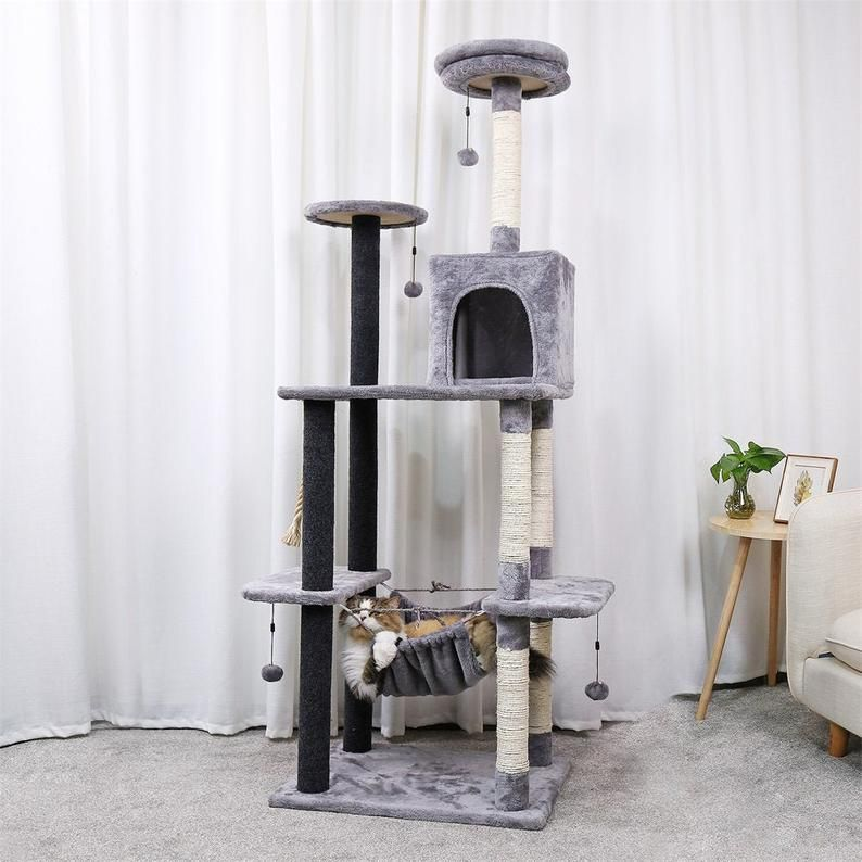 Pet Cats Tree House Multi Level Tower For Large Cats Etsy Cat Tree House Cat Playground Cat Tree