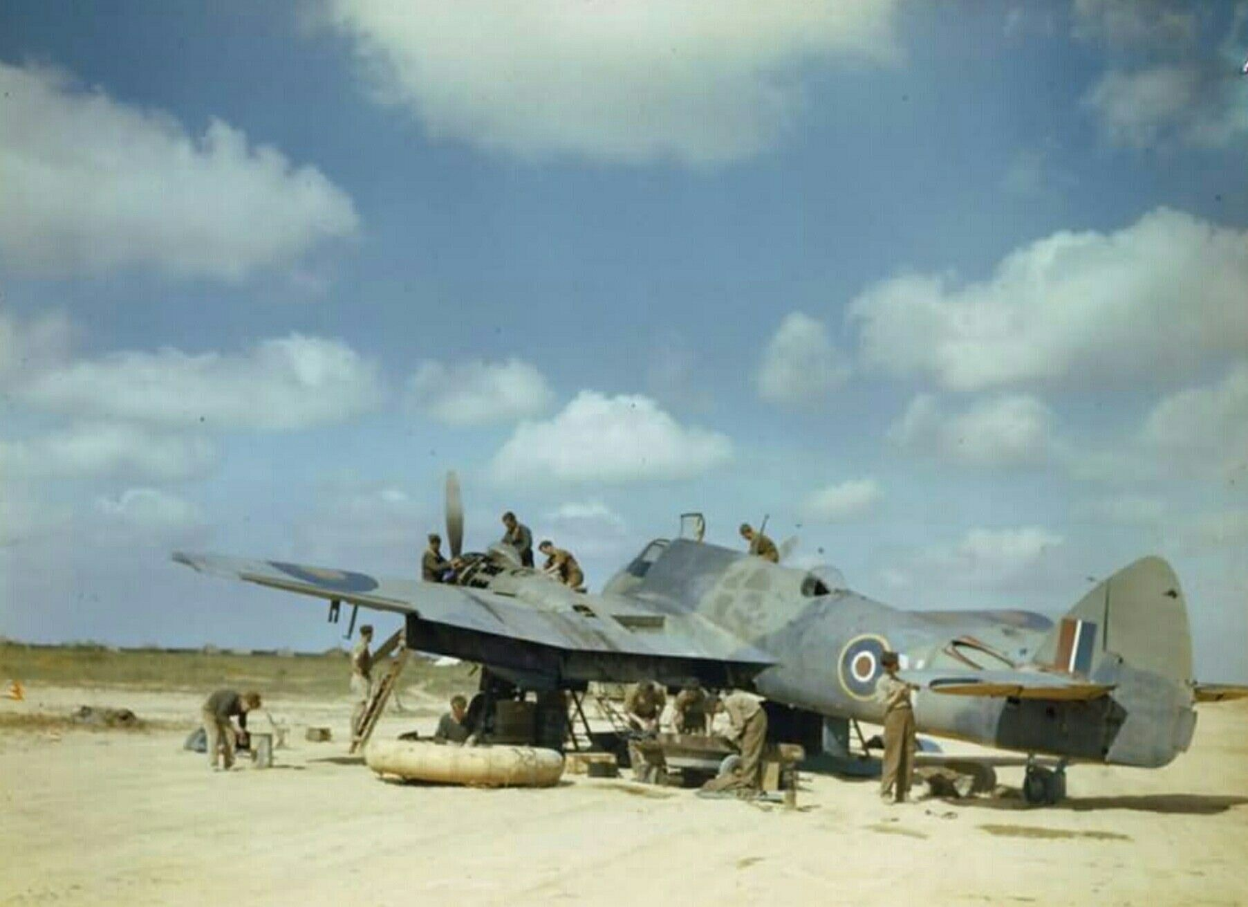 Bristol Beaufighter 252 Squadron Being Serviced In The North West African Desert