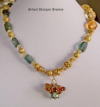 Schaef Designs citrine nuggets, rare moss aquamarine and 22kt gold vermeil necklace | New Mexico
