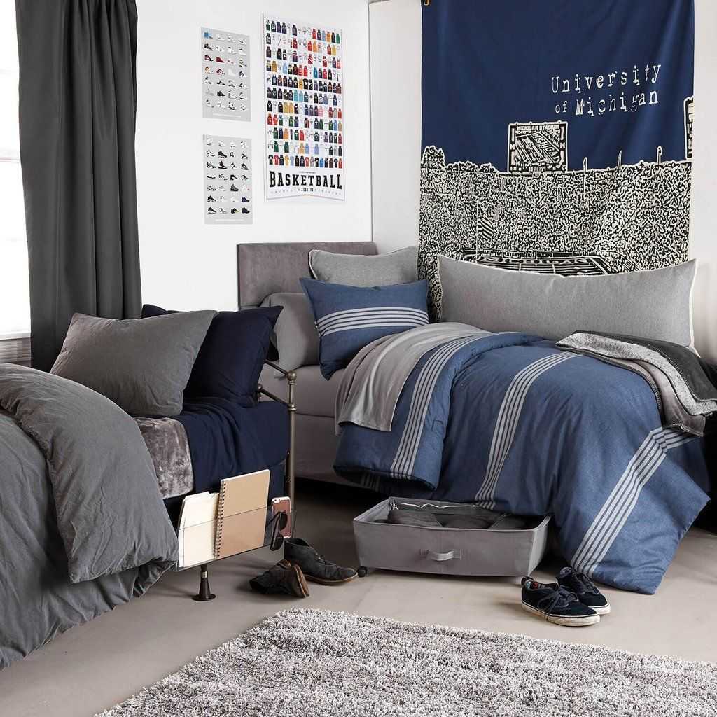 Grey Bedding Navy Blue Sheets With Silver Highlights College Time