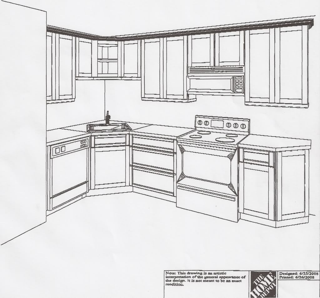 L Shaped Kitchen Layouts: Small L Shaped Kitchen Layouts Skecth With Corner Stove