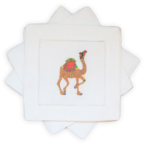 sassy camel embroidered cocktail napkins