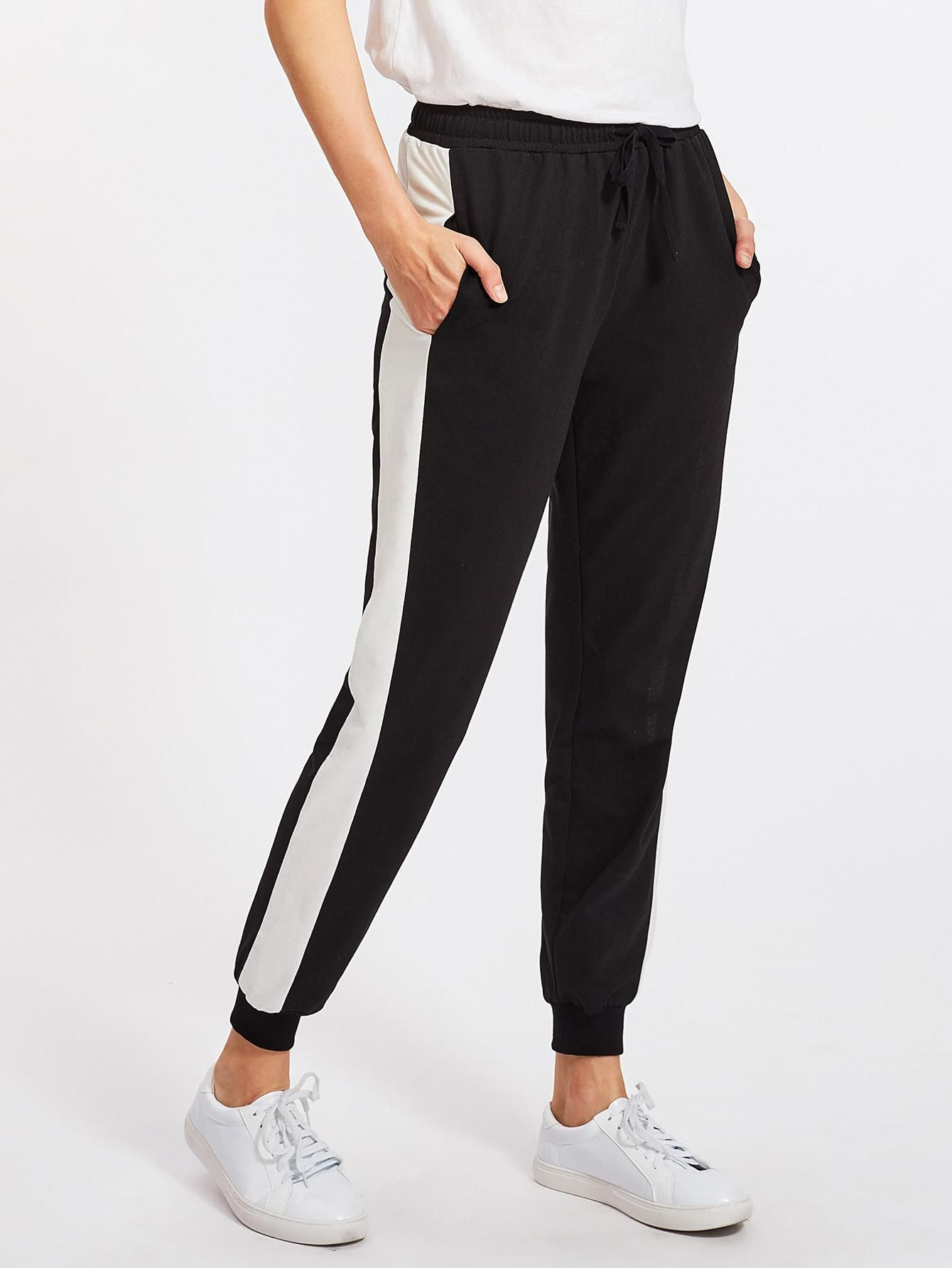 06ffe7d5267a SheIn - SheIn Contrast Panel Tapered Sweatpants - AdoreWe.com | Lose ...