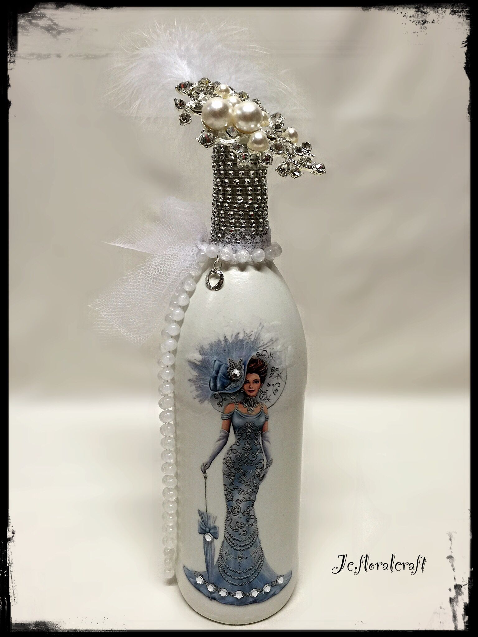 French romance - decoupage champagne bottle 67