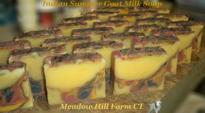 Indian Summer Goat Milk Soap   $4.50 Handmade by Meadow Hill Farm CT.   We use only Fresh Goat Milk from our own herd.   Feel the difference the milk makes!