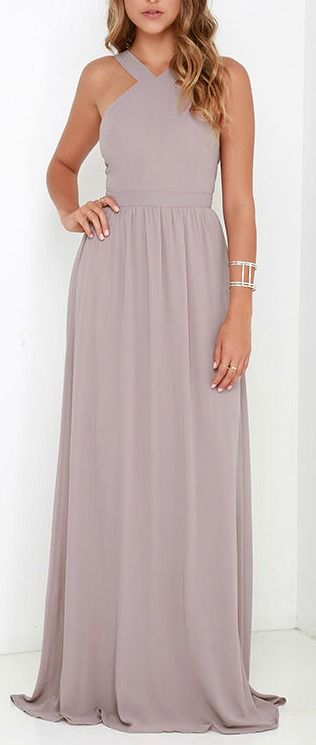 More romantic than a candlelit dinner or a trip to the Eiffel Tower, the Air of Romance Taupe Maxi Dress will have you feeling the love! Lightweight Georgette falls from a modified halter neckline, into a seamed bodice supported by semi-sheer shoulder straps. A sweeping skirt cascades from a banded waist completing this elegant maxi dress.  #lovelulus