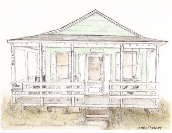 1950s Beach Bungalow Miss Marys Piano Studio Custom House Portrait Watercolor Home