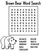 Brown Bear, Brown Bear word search puzzle activity