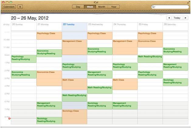 example college schedule