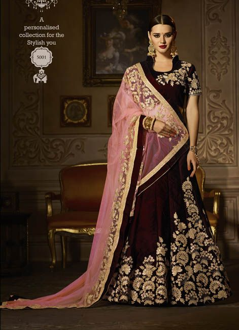 8a7720b50e Stunning Look #Wine #Velvet #Wedding #Lehenga #Choli #weddingflares ...