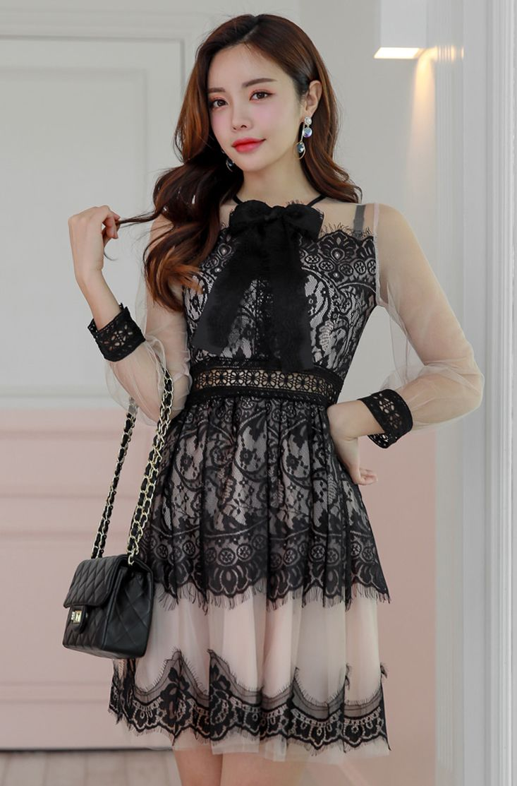Sheer mesh sleeve lace dress chlodmanon black ribbon lace